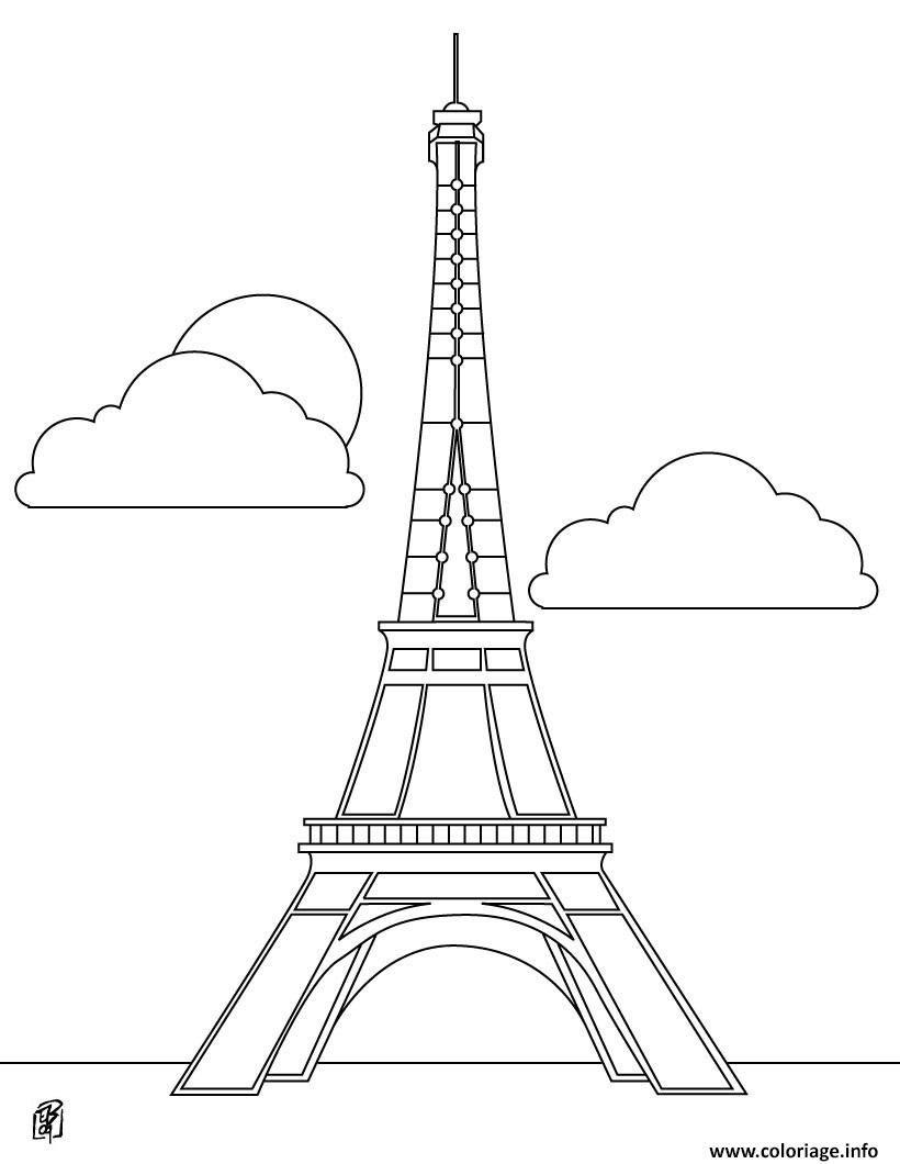 nice 29 Dessin De La Tour Eiffel à Imprimer en 29  Coloriage