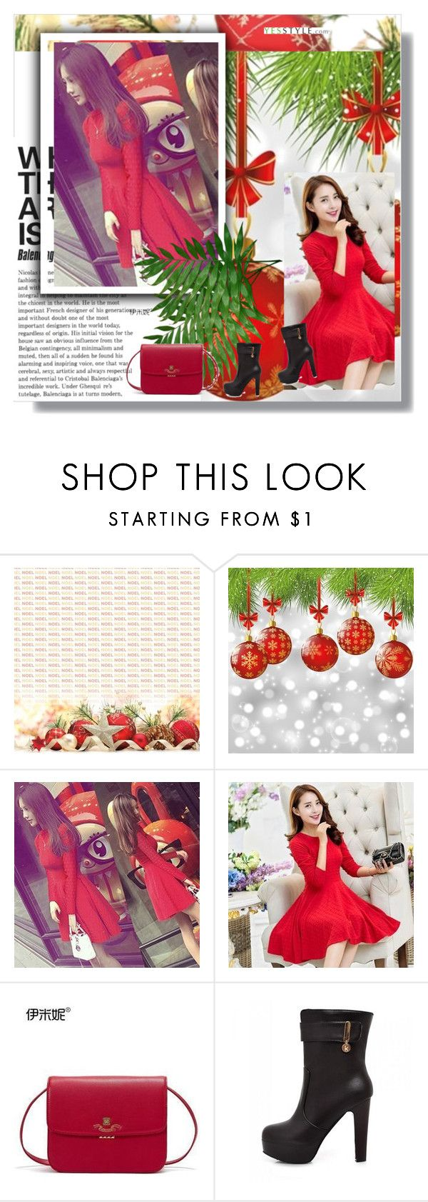 """""""Christmas - yesstyle"""" by semic-merisa ❤ liked on Polyvore featuring Emini House, JY Shoes, Christmas, yesstyle and winteressentials"""