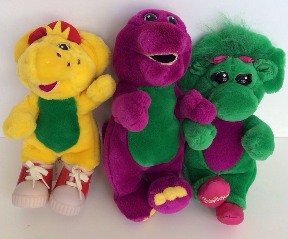 the lyons group barney baby bop u0026 bj 3pc stuffed plush lot