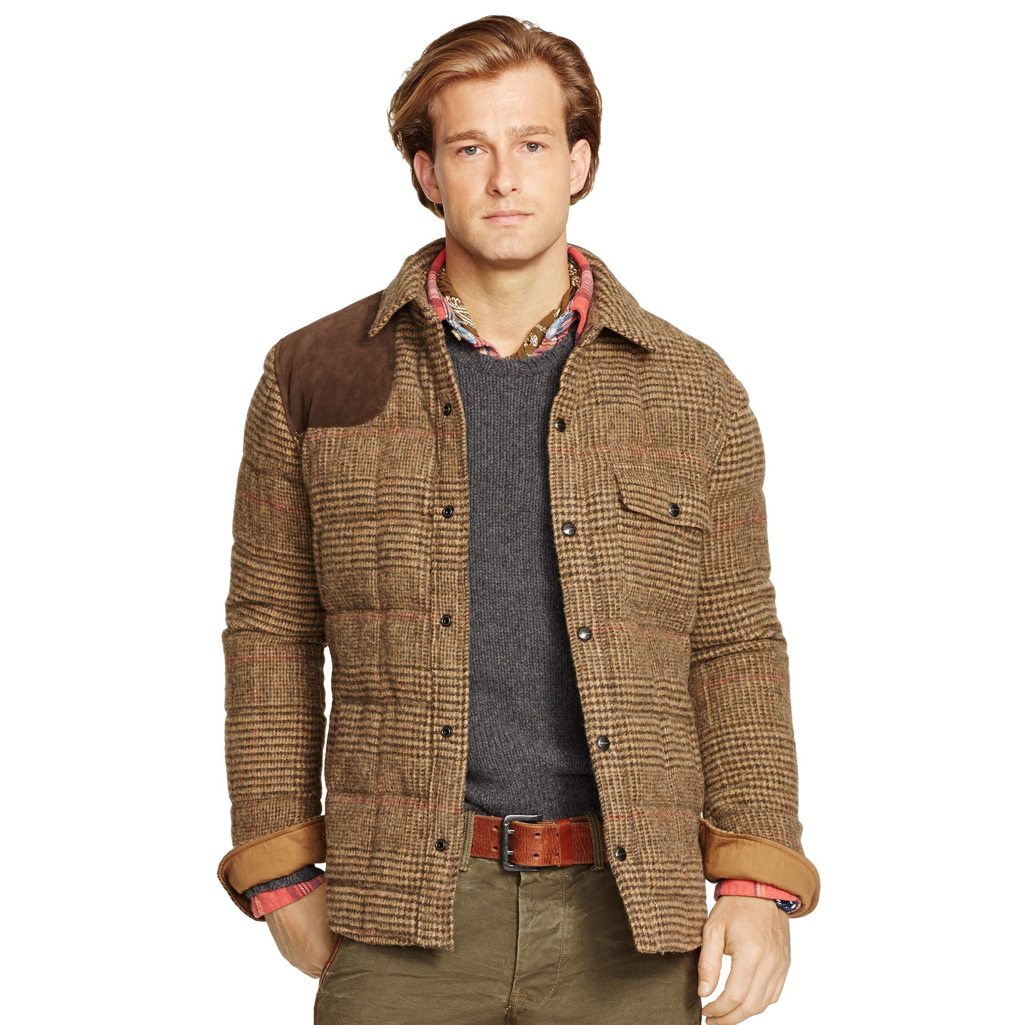 Glen Plaid Down Shirt Jacket Long coat men, Leather