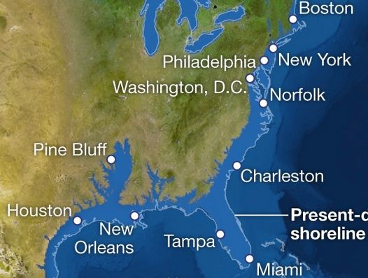 Were Aiming At Feet Or More Of Sea Level Rise Heres What - Us map after global warming