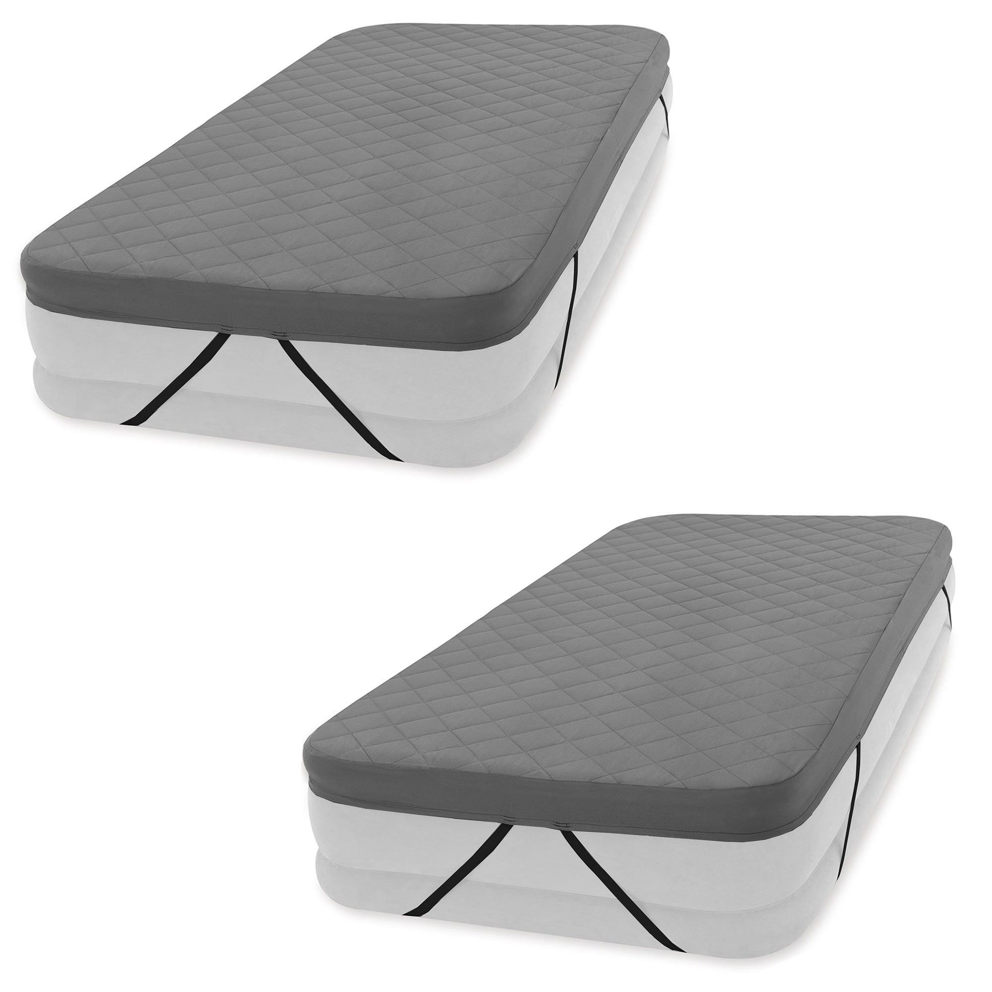 2 Pack Intex Inflatable Prime Comfort Elevated Queen Airbed with Built-In Pump