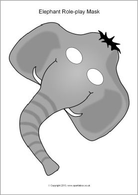 Elephant Role-Play Mask Template (Color or Black & White) Craft ...