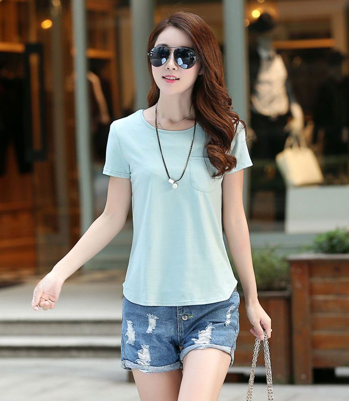 Women Short Sleeve T Shirt With Pocket Casual Tops Cotton Ladies ...
