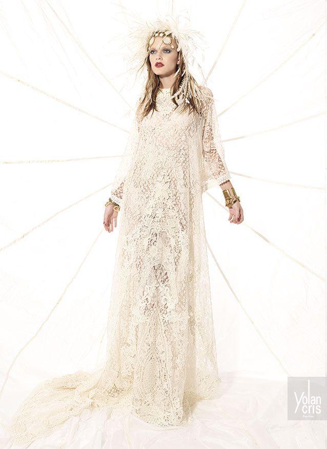 vestido de novia inspirado en la estética de los indios americanos