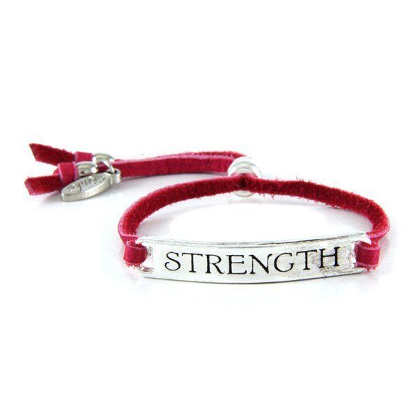 Pink Warrior 'Strength' Fuschia Leather Bracelet