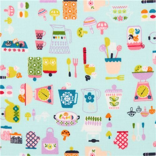 turquoise retro cooking kitchen aids fabric from Japan shirting shirt fabric 3,89