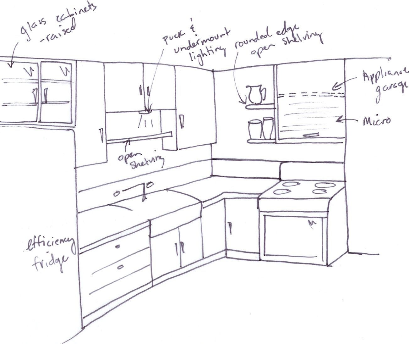 Concept Layout Rough Sketch Kitchen