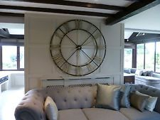 Extra Large Round Distressed Painted Roman Numeral Clock Home
