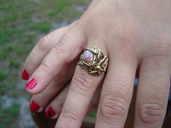 Steampunk+ring+with+opalescent+moonstone+Free+by+TheMixMatchedMutt,+$60.00