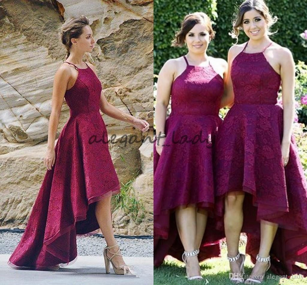 Burgundy lace country bridesmaids dresses new arrival