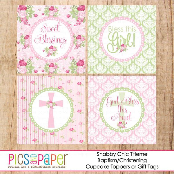 Shabby chic baptism cupcake toppers pretty pink and green shabby chic baptism cupcake toppers pretty pink and green cupcake toppers includes 4 different negle Gallery