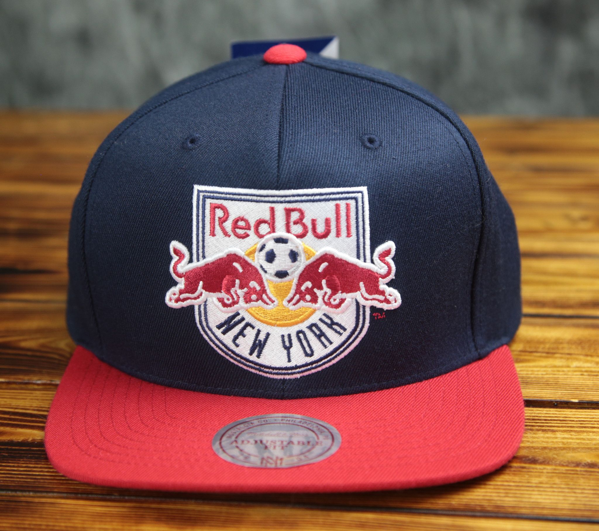 9ae1fa71c51 New York Mitchell   Ness Red Bull XL Logo Snapback Hat