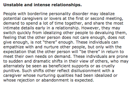 Advice for dating someone with borderline personality disorder