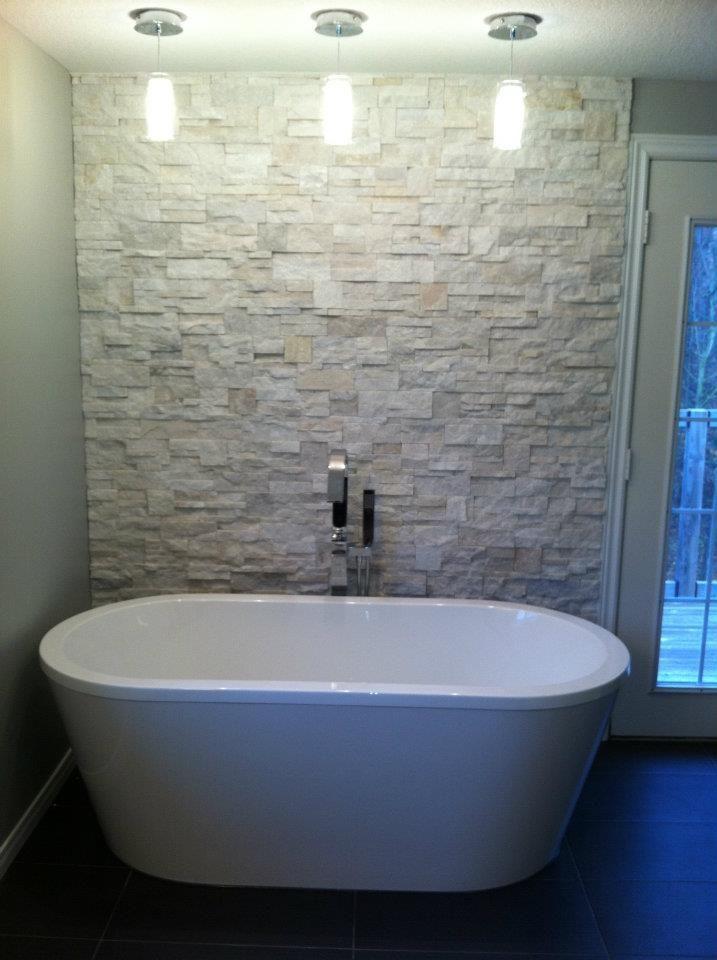 Textured Accent Wall Behind Soaker Tub Soaker Tub