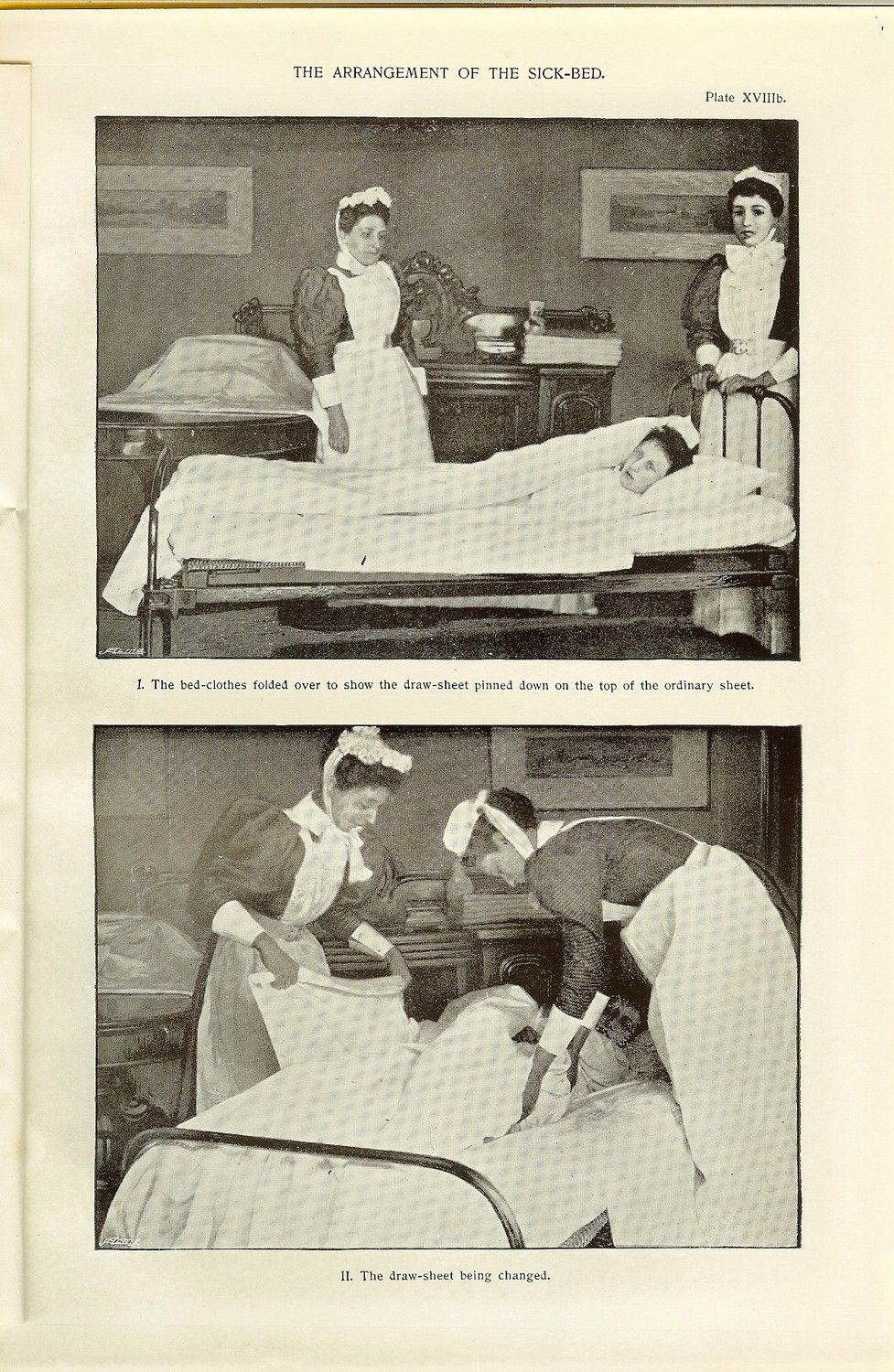 1898 Victorian Medical Nursing Print Nurses Making Up