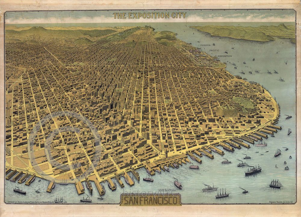1912 Vintage Wall Map San Francisco Post Earthquake