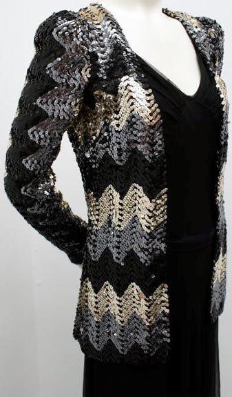 Biba - Veste de Soirée 'Zig Zag' - Sequins Noir et Argent - Années 70