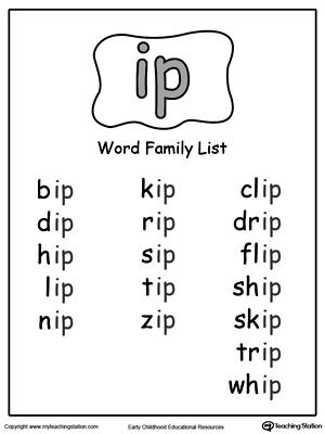 IP Word Family Picture and Word Match | Word Families | Pinterest | Kind