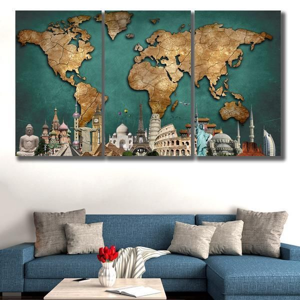 3 panels hd world map monuments painting frames this hd 3 piece canvas world map monuments displaying a beautiful world map if you gumiabroncs Choice Image