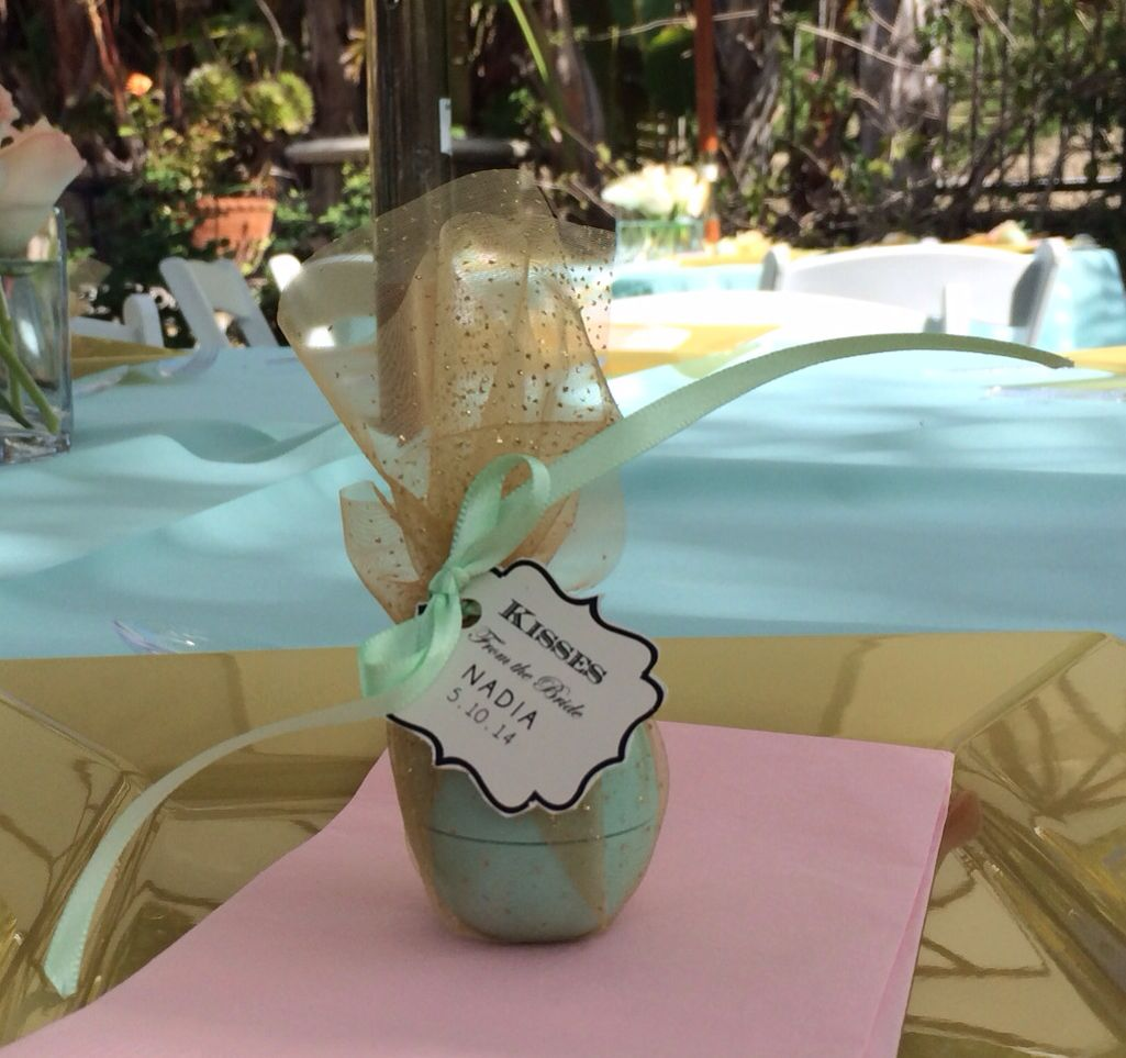 eos lip balm bridal shower favors wrapped in tulle