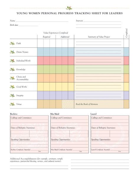 Young Women Personal Progress Tracking Sheet for Leaders - store - Sample Tracking Sheet