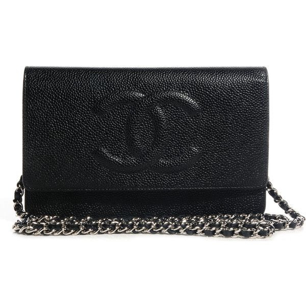CHANEL Caviar Timeless CC Wallet on Chain WOC Black NEW ❤ liked on Polyvore featuring bags, bagss, chanel, snap bag, real leather bags, leather bags, leather chain bag and leather evening bags