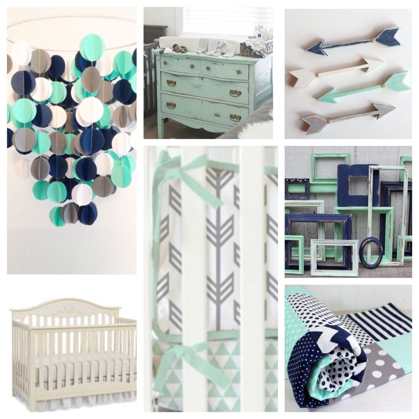 Navy, Mint And Grey Nursery Inspiration
