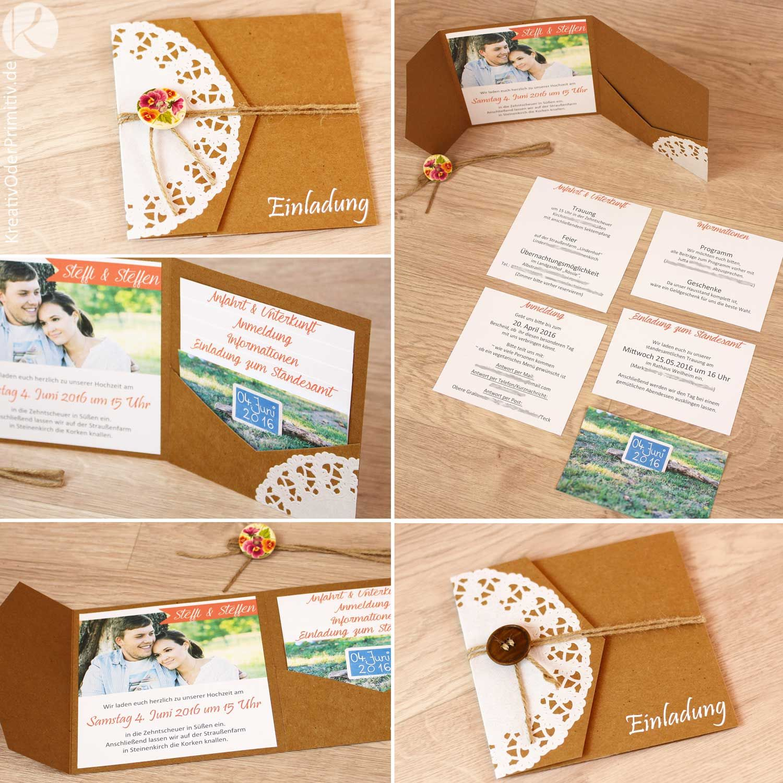 Einladung Hochzeitseinladung Hochzeit Karte Kraftpapier