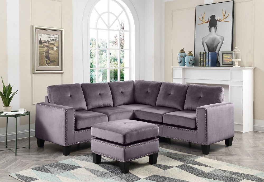Nailer Sectional Set Gray In 2020 Living Room Sets