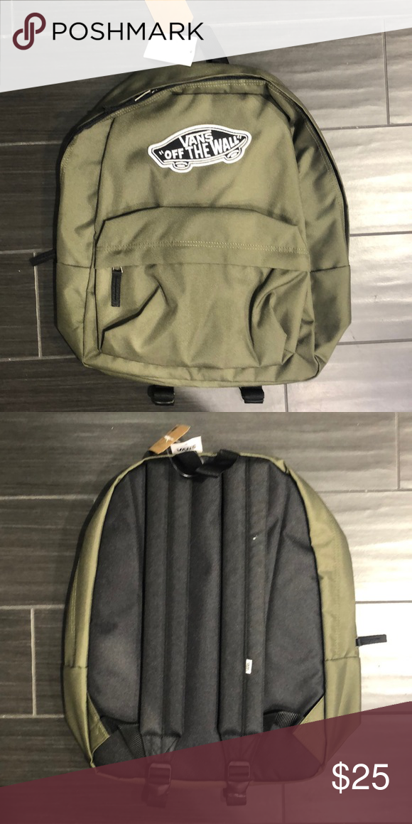 "d2d3a1e291c7 Vans backpack with large embroidery Olive Green With black ""VANS OFF THE  WALL"" logo Vans Bags Backpacks"