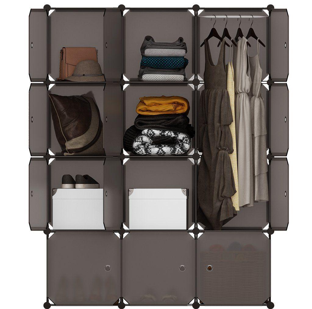 LANGRIA 16 Cube Organiser Stackable Plastic Cube Storage Shelves ...