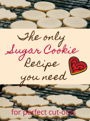 These hold their shape and taste great! It will be the only sugar cookie recipe you need for cookie cut-outs! I love me some sugar cookies,