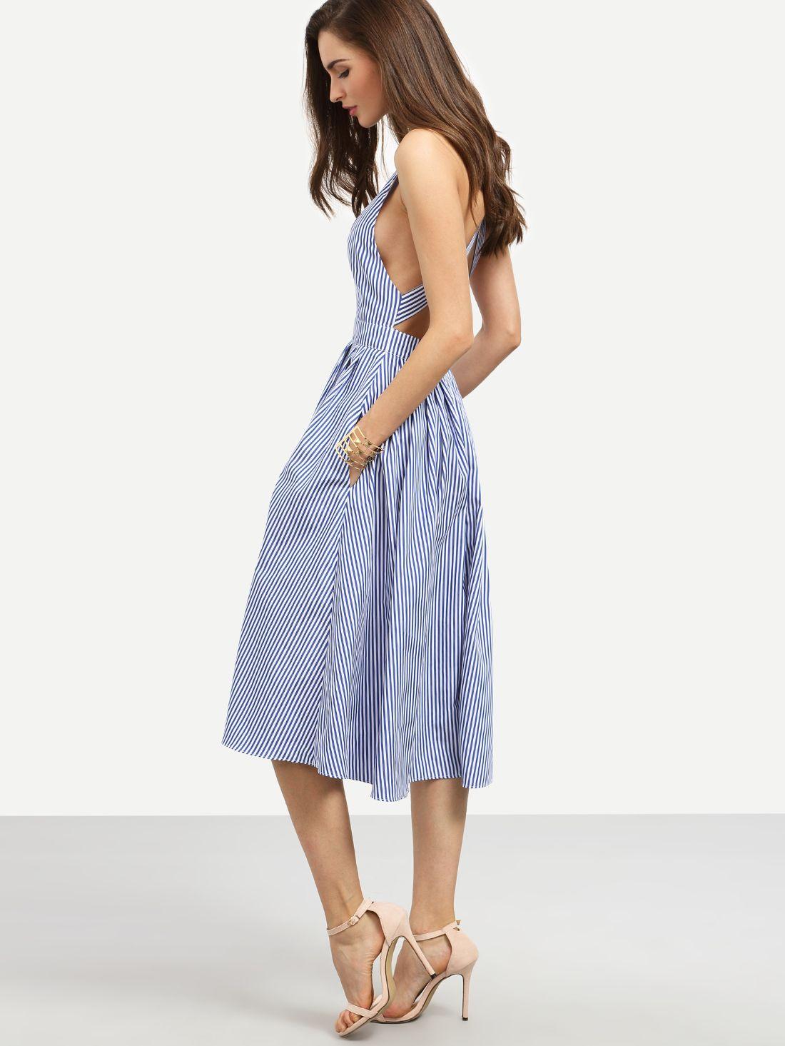 Vestido rayas sin manga espalda cruzada -azul-Spanish SheIn(Sheinside) 8e19e80492e