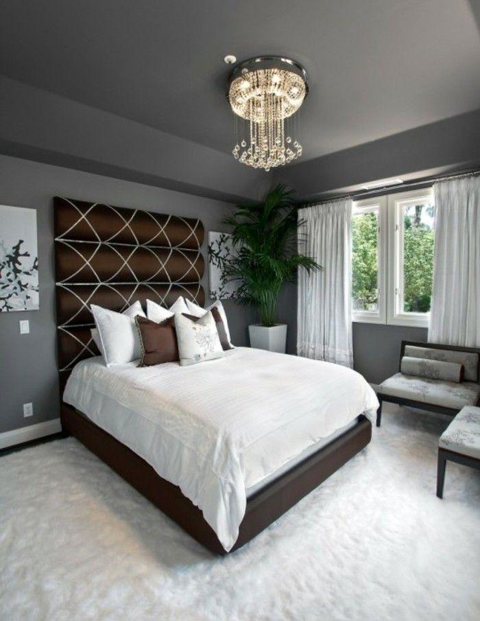 wohnideen schlafzimmer weißer teppichboden pflanzen graue wände ...