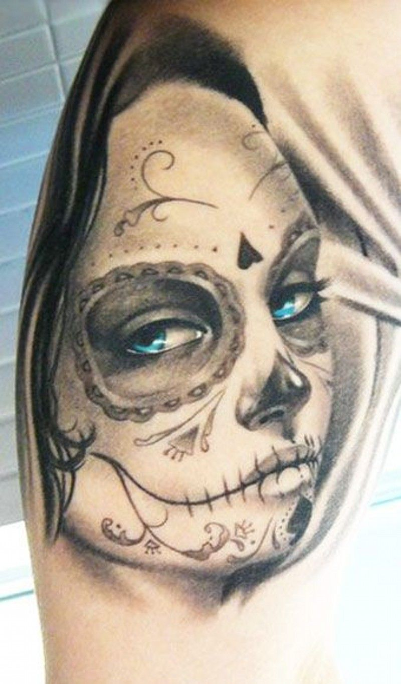 Pretty Grey Ink Day Of The Dead Girl With Blue Eyes Tattoo On