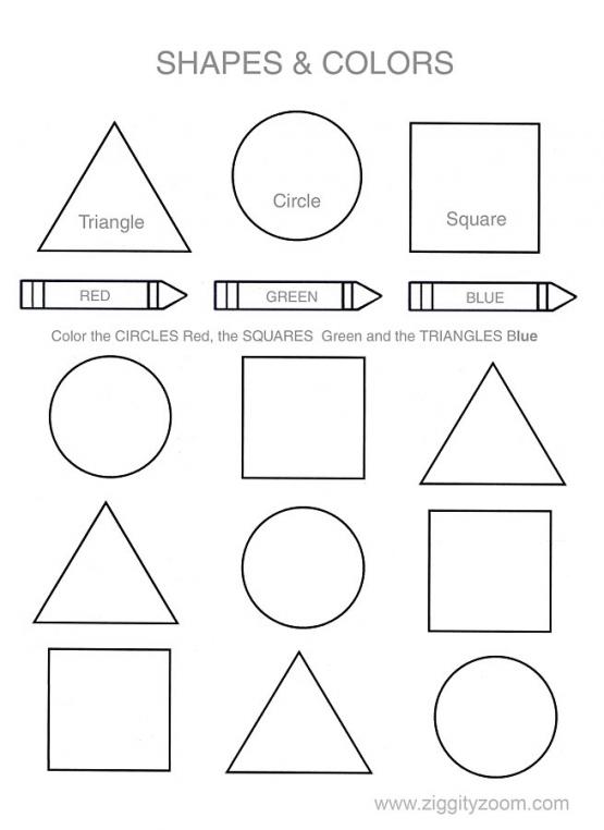 Shapes & Colors Printable Worksheet Worksheets, Shapes