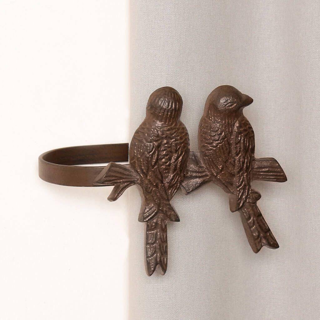 Vintage Brown Country Birds Curtain Tie Backs In 2020 Bird
