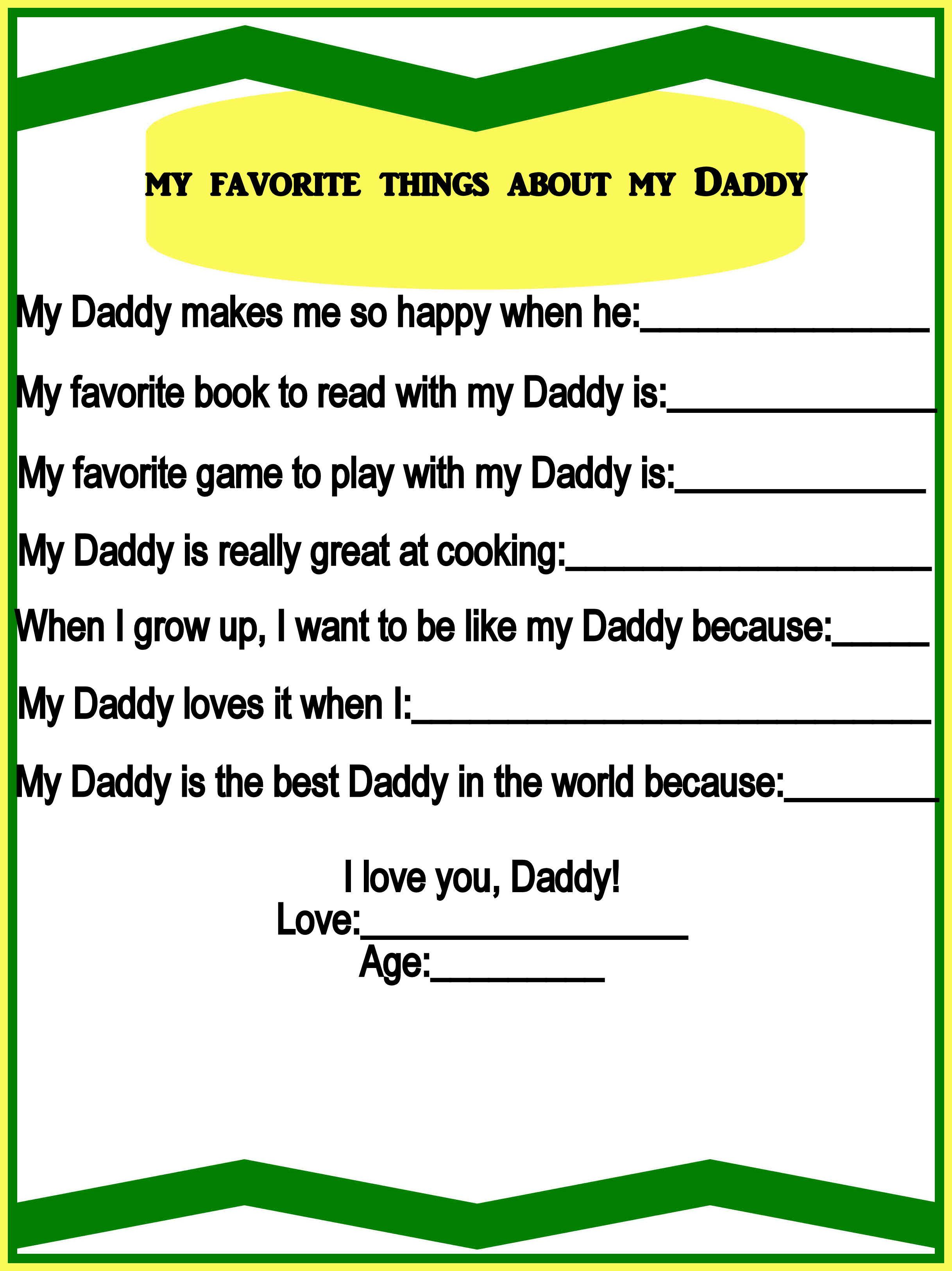 My Favorite Things About My Daddy Free Printable Too Cute