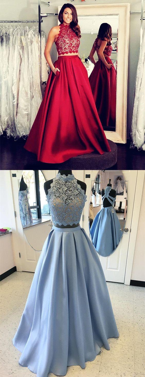 Two piece prom dress piece prom dresshigh neck prom dresslace