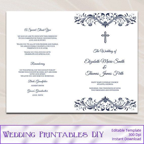 catholic wedding program template diy by weddingprintablesdiy