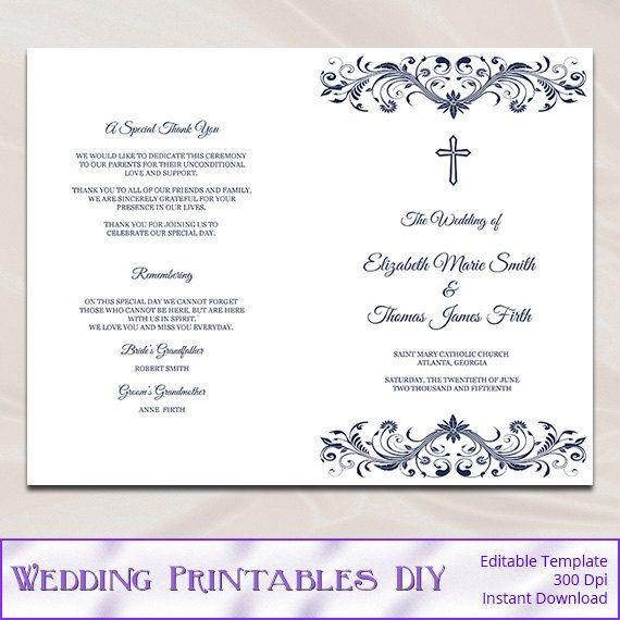 Catholic Wedding Program Template Diy by WeddingPrintablesDiy ...