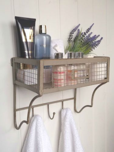Shabby Chic Vintage French Bathroom Wall Shelf U0026Towel Hooks Storage Unit  Rack