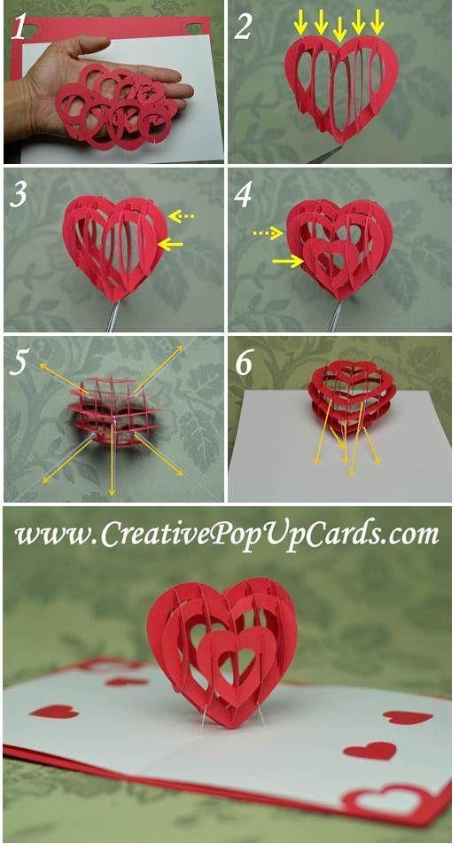 Valentine S Day Pop Up Card 3d Heart Tutorial Creative Pop Up Cards Biglietti Fatti A Mano Idee Fai Da Te Biglietti Di San Valentino