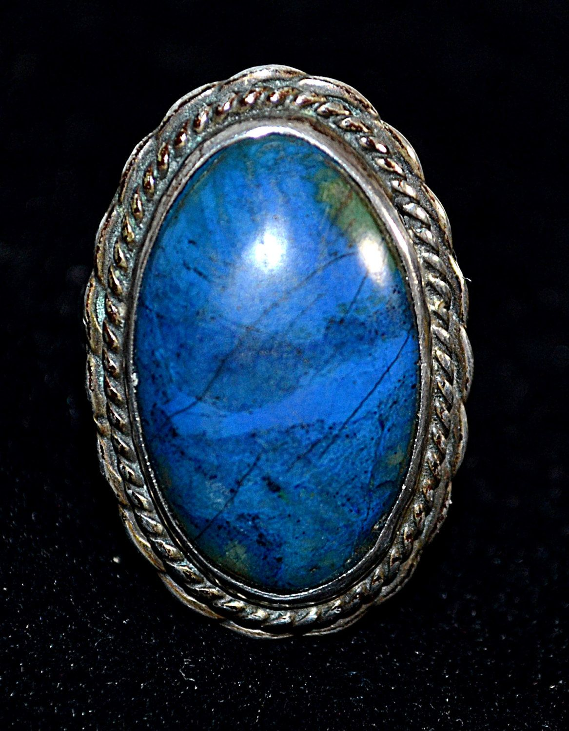 Vintage X Large Lapis And Sterling Silver Ring Sz 8 Signed SL by DodiesDrawer on Etsy