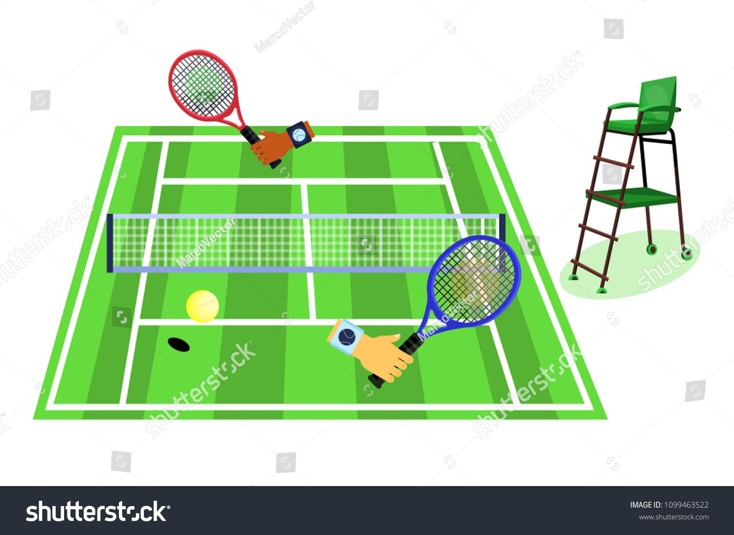 Tennis Grass Court Grass Tennis Court With Playing Two Players And Referee Flat Cartoons Style Vector Illustration Cartoon Styles Tennis Court Tennis Racquet