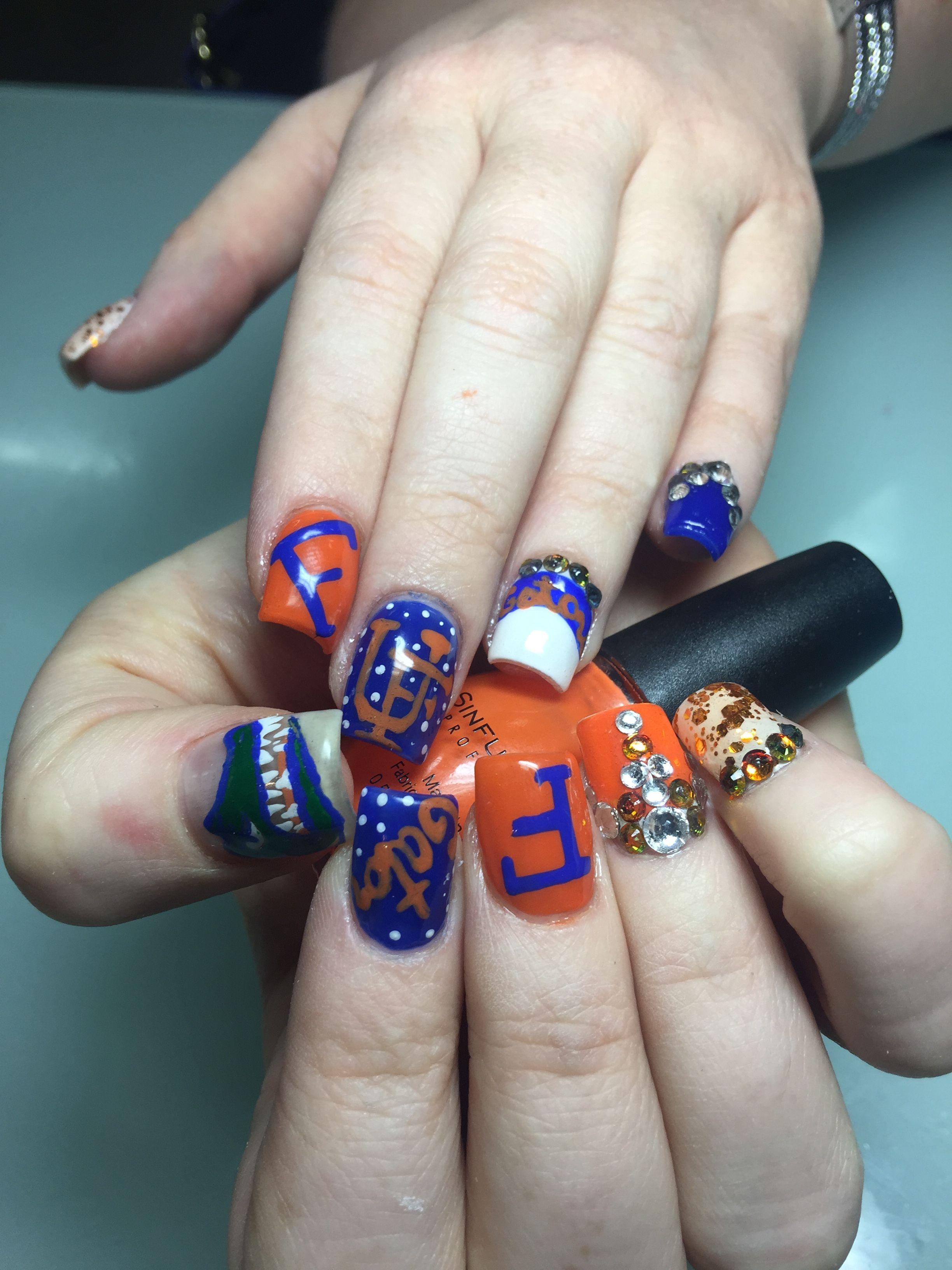 Florida Gator Nail Design Sports Nails Florida Nails Nails