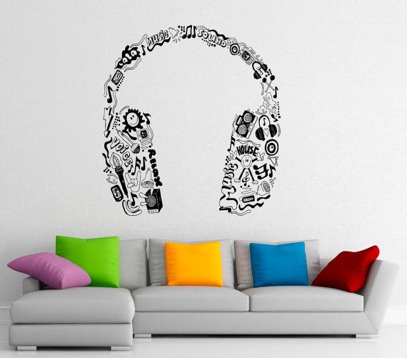 Name Wall Decal Music Earphones Personalized Decal Kids Nursery Music Vinyl Stickers Headphones Home Kids Teen Bedroom Decor T260