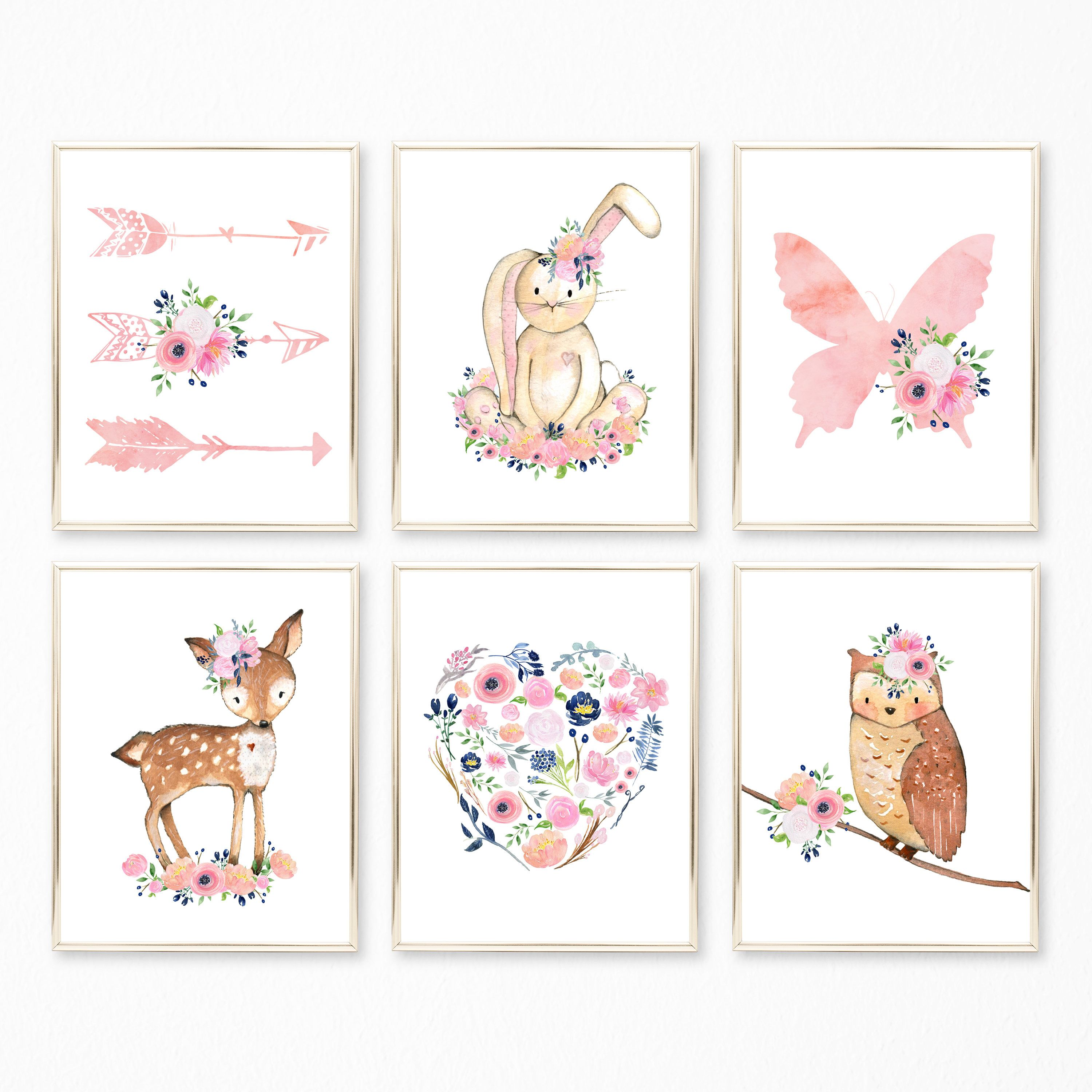 Navy And Pink Nursery Wall Art Pink And Navy Wall