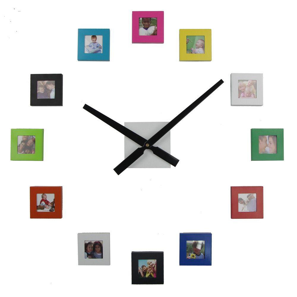 2017 hot 12 photo wall clock modern design diy photo frame clock 2017 hot 12 photo wall clock modern design diy photo frame clock living room decoration quartz jeuxipadfo Images